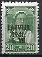 LETTONIE   -  Occupation Allemande   -  1941.   Y&T N° 4 **.  Timbre Russe Surchargé - Lettonie
