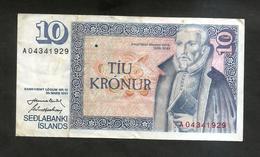 ISLAND / ISLANDA - NATIONAL BANK - 10 KRONUR (1961) - Islande