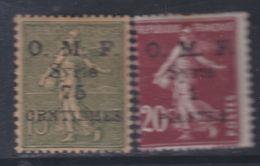 Syrie N° 59 / 60  X Timbres De France Surchargés : Les 2 Valeurs Trace De Charnière Sinon TB - Syrie (1919-1945)