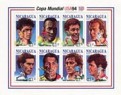 Lote 1994, Nicaragua, 2042, Pliego, Sheet, USA 94, Soccer, Football, Futbol, Players, Freddy Rincon, FIFA - Nicaragua
