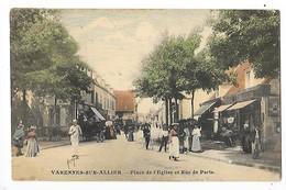 VARENNES Sur ALLIER  (cpa 03)  Place De L'église Et Rue De Paris   -  L 1 - Autres Communes
