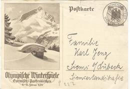 Germany Used Olympic Stationery 6Pf - Winter 1936: Garmisch-Partenkirchen