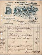 VP14.198 - Facture - Fabrique De Coffres - Forts En Acier A. GODFRIN à PARIS Rue Des Archives - France