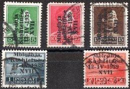 ALBANIA, OCCUPAZIONE ITALIANA, ASSEMBLEA COSTITUENTE, COMMEMORATIVI, 1939,USATI, Scott 299-303, Mi 299-303, Sass. 1-5 - Albania