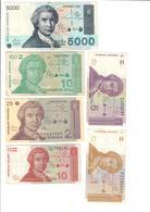 Croatia Lot Set 6 Banknotes - Croatie
