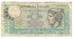 Italy 500 Lire Sostitutiva / Replacement 14/02/1974 W07 - [ 2] 1946-… : République