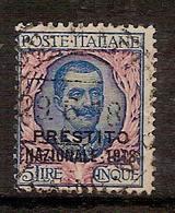 """(Fb).Regno.V.E.III.1901.-5 Lire """"Floreale"""" Soprastampato """"Prestito Nazionale 1918"""" Usato (714-16) - 1900-44 Victor Emmanuel III"""