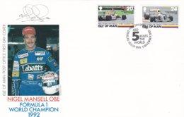 Isle Of Man FDC 1992 Nigel Mansell Formula 1 World Champion (LAR5-62) - Cars