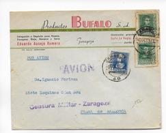 ESPAGNE - 1938 -  ENVELOPPE PUBLICITAIRE (VOIR DOS) Avec CENSURE De ZARAGOZA Par AVION => PALMA DE MALLORCA - Marcas De Censura Nacional