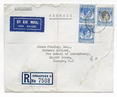 MALAYA - 1955 -  ENVELOPPE RECOMMANDEE Par AVION De SINGAPORE => GLASGOW - Malayan Postal Union