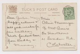AJ97 Genealogy - Messenger Arriss, Colchester, 1913 - Woolverston Thimble Cancelation - Généalogie