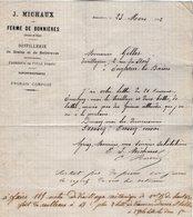 VP14.200 - Lettre - Distillerie ......J. MICHAUX - Ferme De BONNIERES ( Seine Et Oise ) - 1800 – 1899