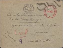 Guerre 14 FM Paris RP étranger 26 1 15 7 Ondulations Pr Comité International Croix Rouge Genève Censure RF Contrôlé 9 - Guerre De 1914-18