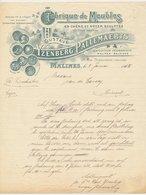 Factuur / Brief Malines 1915 - Yzenberg - Pallemaerts - Meubles - Furniture - Bélgica