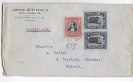 GUATEMALA - 1919 -  ENVELOPPE RECOMMANDEE  => VERGIGNY (YONNE) - Guatemala