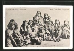 AK Santa Cruz, Grupo De Indias Tehuelches - Indiens De L'Amerique Du Nord