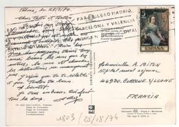Timbre , Stamp Yvert N° 1803 Sur CP , Carte , Postcard Du 28/08//1974 Pour La France - 1931-Aujourd'hui: II. République - ....Juan Carlos I