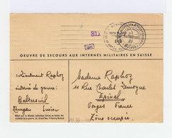 Sur Carte Par Interné Militaire 1941 Cachet Camp D'internement Suisse Balterswil Et Cachet Wehrmacht. (1006x) - Postmark Collection (Covers)