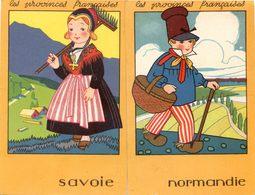 Lot De 2 Images - Les Provinces : Normandie Et Savoie - Pub Des Chaussures Raoul -  30 Rue Alsace Toulouse - Vieux Papiers