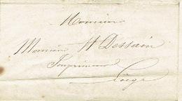 Précurseur Lettre Du 20/1/1847 Envoyée Par Porteur D'Yvoz à LIEGE - Signé J. CRESPIN - 1830-1849 (Belgique Indépendante)