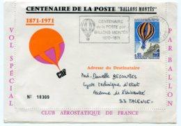 10758 FRANCE  PA 45 Centenaire De La Poste Par Ballons Montés 1870-1871 Flamme   Du 28.1.71  TB - Postmark Collection (Covers)