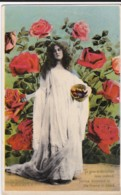 AS14 Greetings - Charity - Young Lady With Roses - Holidays & Celebrations