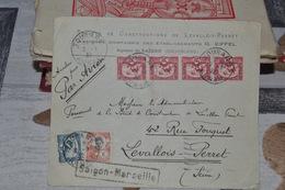 TIMBRES  20C ROUGE  INDOCHINE SUR LETTRE. SAIGON MARSEILLE .PAR AVION .1932 ; BEAUX CACHETS DE DÉPART ET D;ARRIVÉE - Indochina (1889-1945)