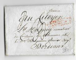 ESPAGNE - AN 8 DE LA REPUBLIQUE (1800) - LETTRE De SANTANDER MONTAGNAS (MARQUE LINEAIRE ROUGE) => BORDEAUX - Spain