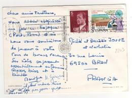 Timbre , Stamp Yvert N° 2203 Sur CP , Carte , Postcard Du 19/06/1980 Pour La France - 1931-Aujourd'hui: II. République - ....Juan Carlos I