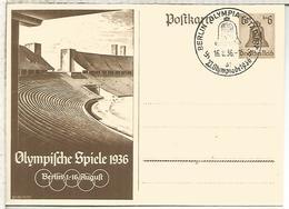 ALEMANIA REICH ENTERO POSTAL JUEGOS OLIMPICOS DE BERLIN 1936 MAT OLYMPIA STADION - Verano 1936: Berlin