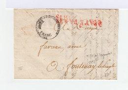 Sur Pli Pour Fontenay Le Peuple Cachet Rouge Port Payé. Cachet Correspondance Centrale Bureau Port Franc. (1017x) - Marcophilie (Lettres)