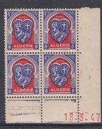 Algérie N° 263 XX Armoiries : 4 F.50 Outremer Et Rouge, En Bloc De 4 Coin Daté Du 18 .3 . 48 ; 1 Pt Blanc Sans Char., TB - Algérie (1924-1962)