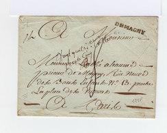 Sur Enveloppe Cachet Linéaire Demagny. Taxe Manuscrite. Adressé à M. L'Abbé Aleaumé Prieur De Magny Paris. (1018x) - Marcophilie (Lettres)