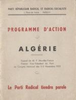 Programmes - Parti Républicain Radical-Socialiste - Mendès-France - Action Algérie - Novembre 1955 - Histoire - Colonies - Programs