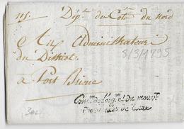 AN 3 (1794) - LETTRE IMPRIMEE En FRANCHISE De La COMMISSION De L'ORGANISATION Et Du MOUVEMENT Des ARMEES - COTES DU NORD - Marcophilie (Lettres)
