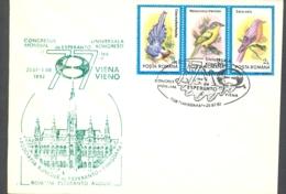 74982- VIENNA WORLD ESPERANTO CONGRESS, SPECIAL COVER, BIRDS STAMPS, 1992, ROMANIA - Esperanto