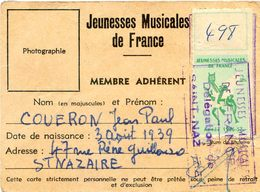 Carte De Membre Adhérent Aux Jeunesses Musicales De France - Saint Nazaire - J P Couéron - Cartes