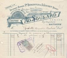 Facture Illustrée 31/1/1918 SOULARD Quincaillerie BAYONNE Basses Pyrénées Pour Grolotte - France