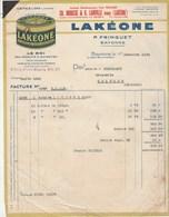 Facture Illustrée 15/12/1936 Broussé, Lainville FRINGUET Produits Entretien Lakeone BAYONNE Basses Pyrénées - France
