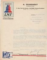 Lettre Illustrée 23/1/1935 OLHAGARAY Matériel Téléphonique Radio LMT BAYONNE Basses Pyrénées - France