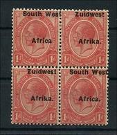 Südwestafrika 1923, KG V  1d Viererblock Mit Stark Verschobenen Aufdruck - Namibie (1990- ...)