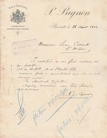 Lettre Illustrée 26/8/1904 P BIGNON Vins Spiritueux BIARRITZ Basses Pyrénées - France