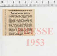 Presse 1953 Rappel Anniversaire Invention Du Timbre-poste Par Le Slovène Lowrentz Koschir ( Laurenz Koschier )   51D8 - Old Paper