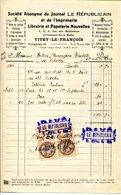 """VITRY LE FRANÇOIS.SOCIETE ANONYMES DU JOURNAL """" LE REPUBLICAIN """" 3 RUE DES ROTISSEURS.FACTURETTE. - Imprimerie & Papeterie"""