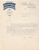 Lettre 29/12/1945 NOBLIA Frères Chocolat Confiserie Noblia CAMBO Les Bains Basses Pyrénées à Clugnat Creuse - France