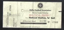 MALTA  -   MALTA  Vs  NORWAY      ( MATCH TICKET 1999 ) - Tickets D'entrée