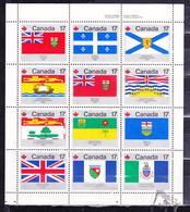CANADA 1979 PROVINCIAL FLAGS SOUVENIR SHEET OF 12 VARIETIES SC# 821-832 - 1952-.... Règne D'Elizabeth II