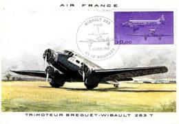 [MD2531] CPM - AEREI - AIR FRANCE - TRIMOTEUR BREGUET-WIBAULT 283 T - CON ANNULLO 11.10.1986 - NV - 1919-1938