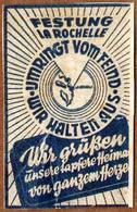 Petite étiquette Guerre 1939-45 La Rochelle - Festung La Rochelle - Umringt Vom Feind - Wir Halten Aus - Wir Grüssen ùns - Programmi