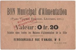 REIMS (51) BON MUNICIPAL D'ALIMENTATION.VALEUR 0 Fr 20. - Bons & Nécessité